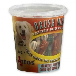 A Tub Of Antos Cerea Mini Toothbrush's Holds 50 Veggie/Vegan Chews
