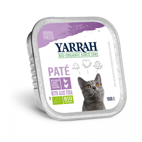 Organic Cat Chicken & Turkey Aloe Vera Pate Alu-Cup 100g