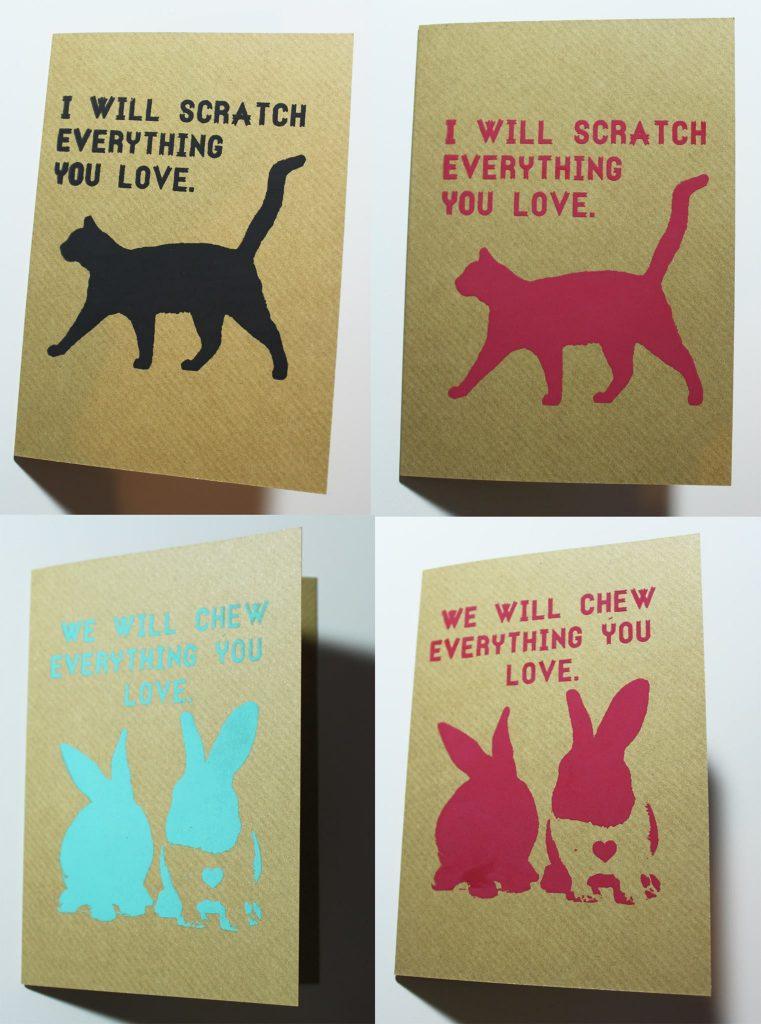 cat meme cards, rabit meme cards, etsy handmade